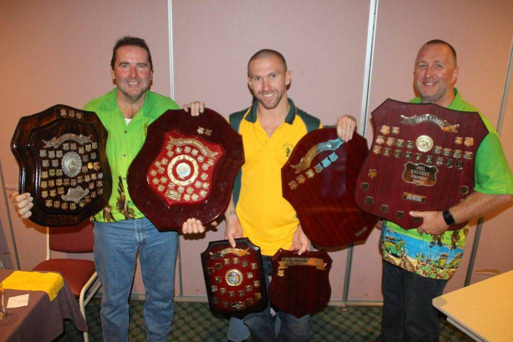 Trophy winners Doug Rorke, Jarrod Davey and John Carswell at the Cobar Yabbies presentations on Friday night at the Cobar Bowling & Golf Club.