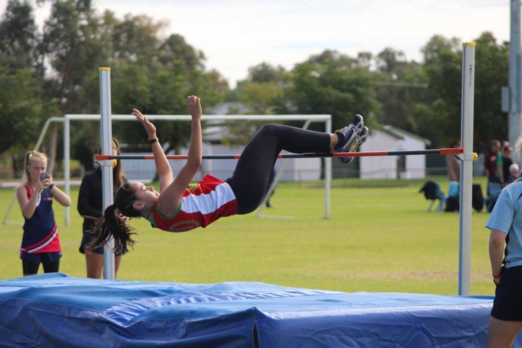 Brennah Aumua won the 14 years girls high jump event with a 1.42cm final jump at Cobar High School's annual athletics carnival at Ward Oval last Wednesday.