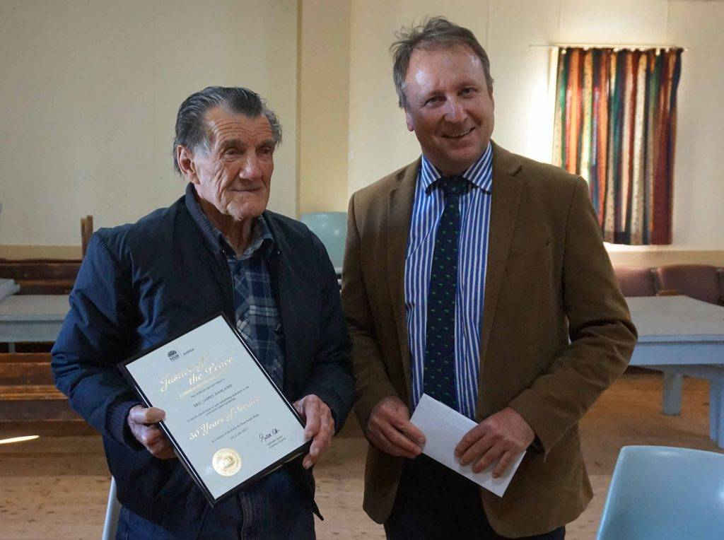 Nymagee resident Eric Harland was presented with a commendation by Member for  Barwon Kevin Humphries recently in recognition of his 50 years of service as a Justice of the Peace. ▪ Photo contributed