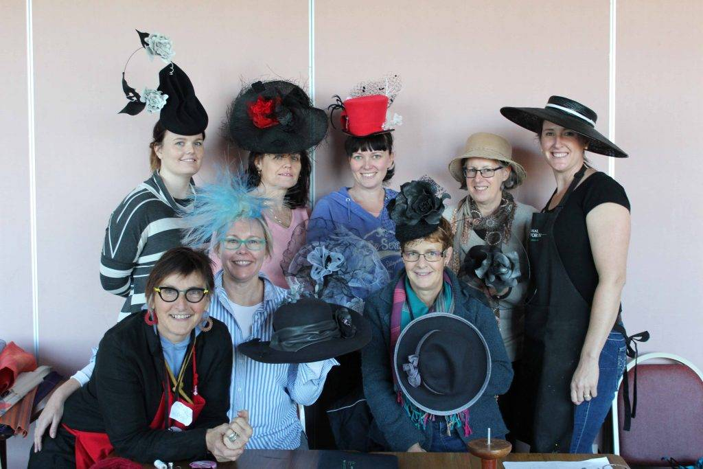 Hatmobile workshop participants enjoyed a productive weekend with world-renowned milliner Waltraud Reiner. Pictured above are Waltraud Reiner, Seigrid Peters, Kylie Harvey, Jacinta Cain, Jo Brown, Sandra Baker, Daphne Jermyn and Leah LeLievre  displaying their marvellous hat creations.