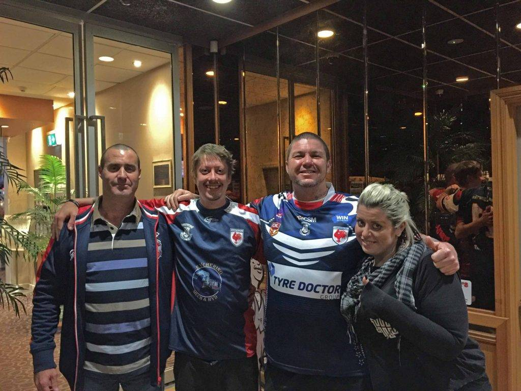The Cobar Roosters club president Glenn Davis and secretary Jessica Claus presented Heavy Hiterz' Justin Jansen and Brent Simpson with Roosters shirts. ▪ Photo contributed