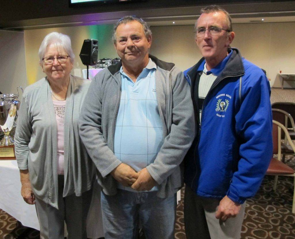 Barbara Bartlett was pleased to present the Bill Bartlett golf trophy (named in honour of her late husband) to her son-in-law Robbie Cummins and son Paul Bartlett. ▪ Contributed
