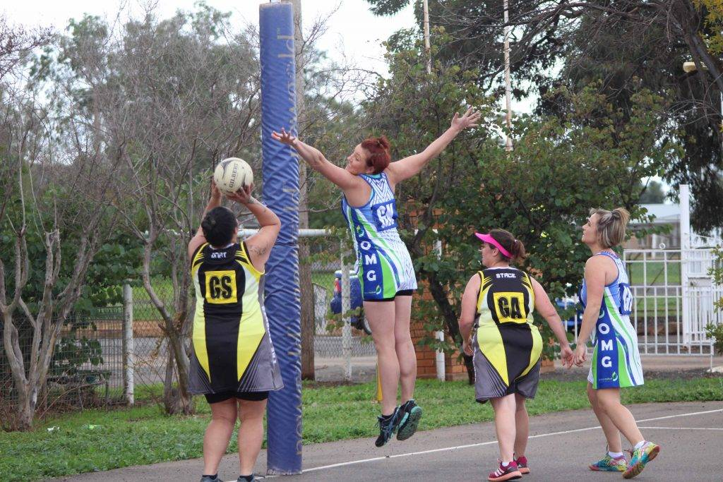 OMG's Celeste Collins was a standout defending The Knights' Natalie Wharton (GS) in their B Grade netball game at Ward Oval on Saturday afternoon.