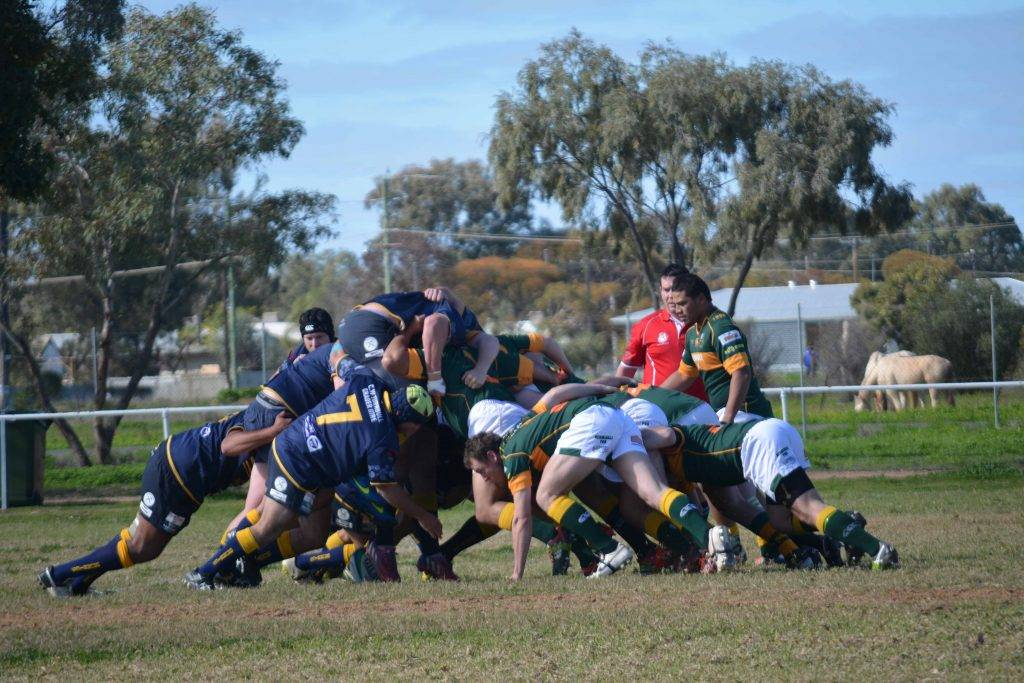 The Cobar Camels (at right) showed their scrum superiority over the Brewarrina  Brumbies in their Western Plains Rugby match at Brewarrina on Saturday.