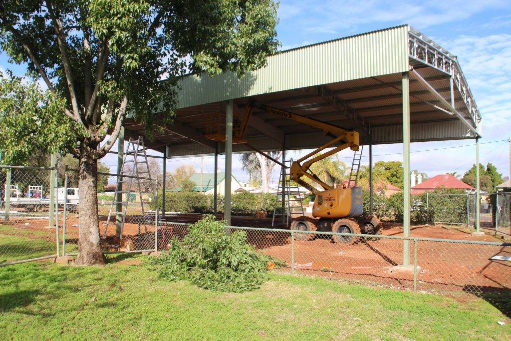 A new shade structure which was erected in Drummond Park last week is one of a  number of upgrades planned for the playground area.