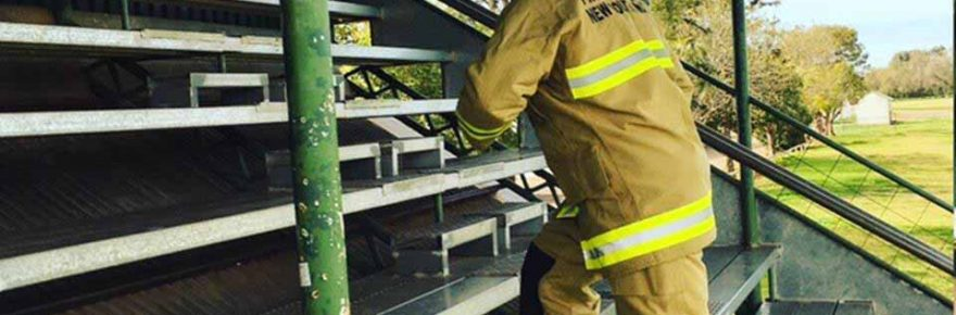 Former Cobar firefighter Rod Hill was in town recently training at Ward Oval in readiness for the upcoming Sydney Tower Climb to raise funds for Motor Neurone Disease. ▪ Photo contributed
