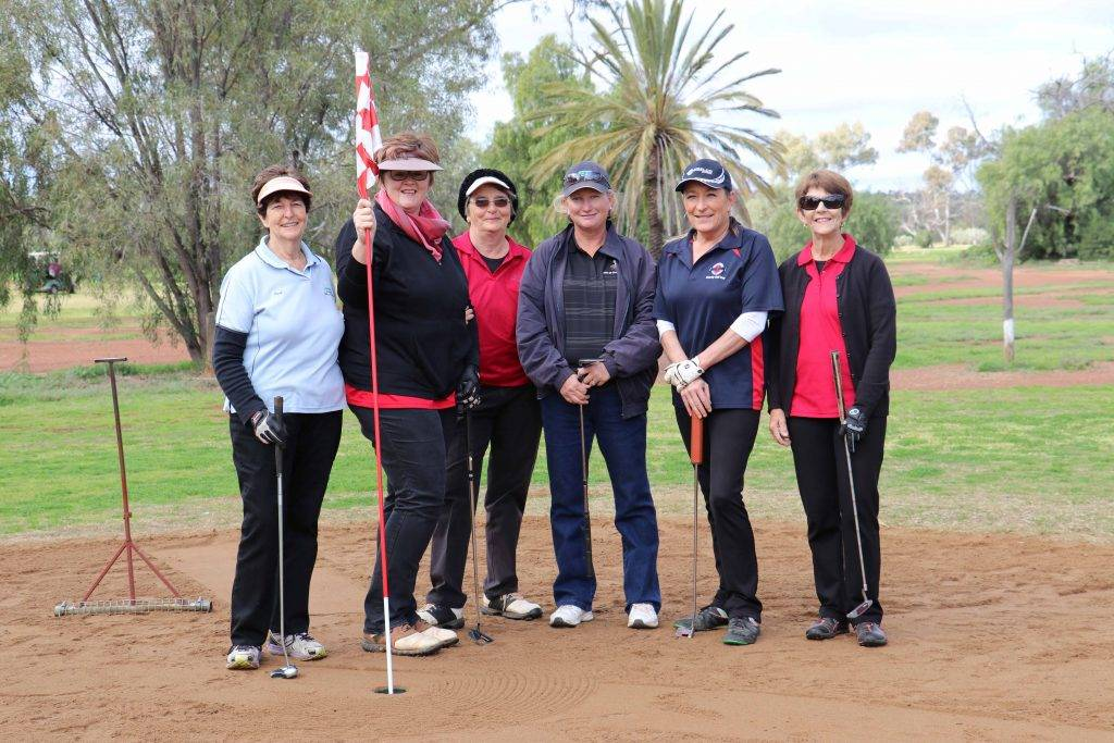 Barbara Barklimore, Karen Manns, Pat Polack, Serena Fraser, Jannine Wilkin and Di Greer just finishing up at the 11th hole at the Polyfabrications golf day on Saturday. (The team of Manns, Fraser and Wilkin finished as the runners-up.)