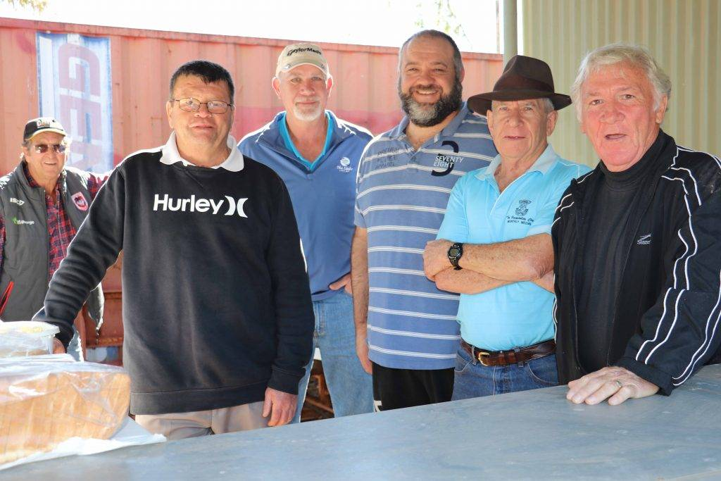 Golfers Larry Brydon, Peter Brien, Garry Wilkin, Marc Quinn, John Collins and Max Phillips helped out their female golf counterparts on Sunday by cooking a barbecue and serving lunch for the many visiting women golfers who were here to contest the Far West Rose Bowl competition.