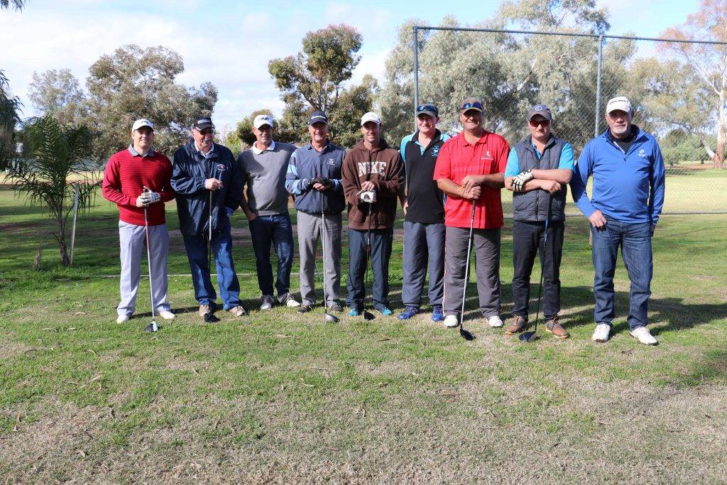 It was a family affair when golfers lined up for the Polyfabrications Day Three Person Ambrose event on Saturday. Pictured are  Jacob Ryan, Gary Dunn, Michael Ryan, Bill and Todd Fugar, George, Stewart and Alec Fraser and Garry Wilkin. Serena Fraser and Jannine Wilkin also featured in the winner's list in the ladies event. See Page 26 for ladies report.