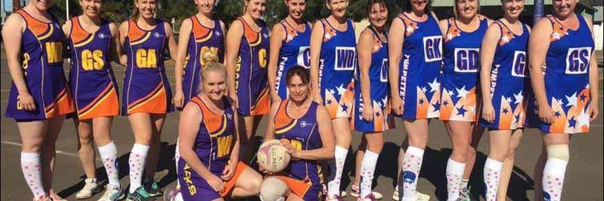 Cobar Netball Association teams SPARKS and Pumpettes both wore one sock in support of Batyr and youth mental health in their match on Saturday. ▪  Photo contributed