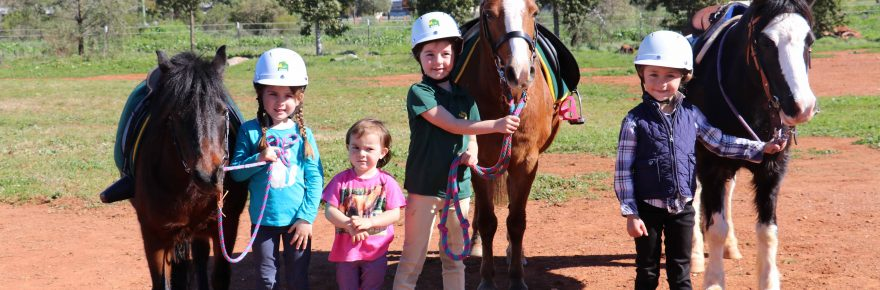 Lexi Ah-see with her horse Wilber, Ella and Lila Armstrong with Holly and Lara Stephens with her horse Boots at the Cobar Pony Club's rally on Sunday at the  Dalton Park Horse Sports Complex.