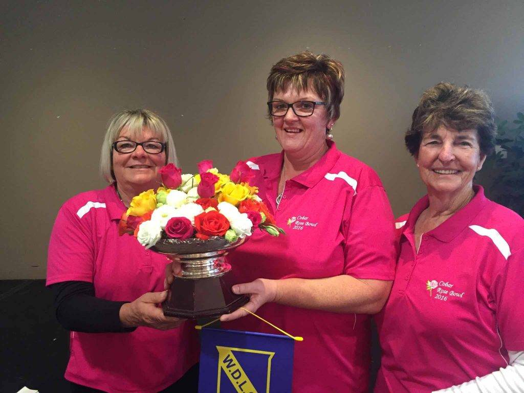 The Cobar women's golf team of Angela Fryer, Karen Manns and Barbara Barklimore was the best team on the course on Sunday and collected the prestigious Far West Rose Bowl trophy for Cobar. ▪ Photo contributed