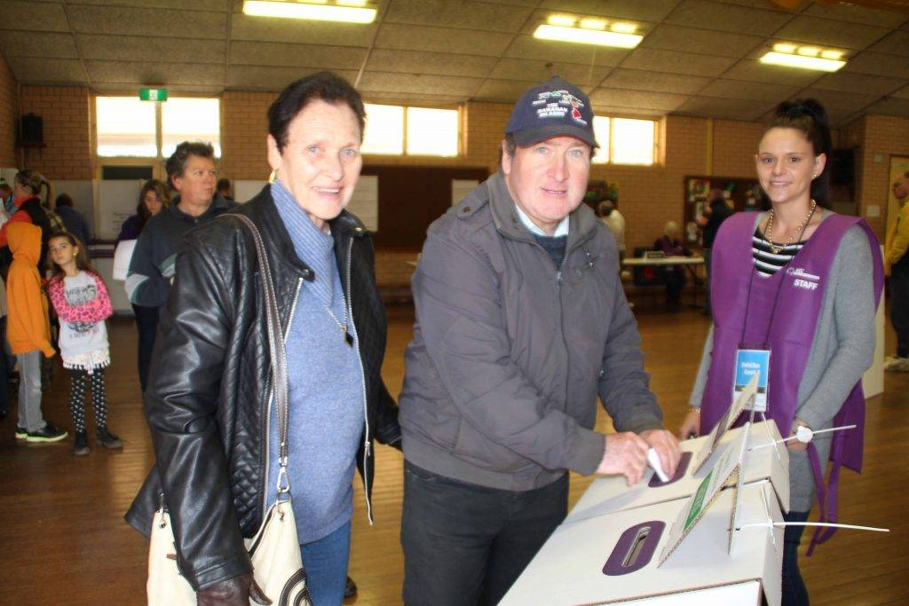 Making their vote count at Saturday's Federal Election were Patricia Porter and her son Lance with Australian Electoral Office staff member Carli Shultz.