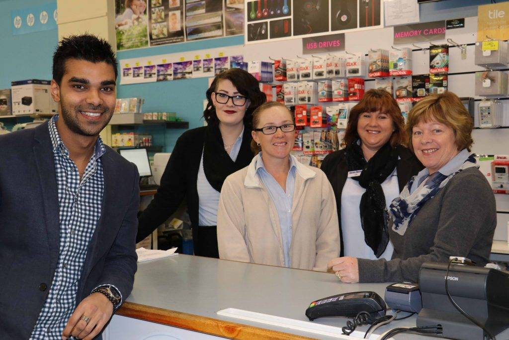 Milan Amarsi has joined the Harvey Norman Cobar team as the store's new franchisee. He is pictured with staff members Lara Smith, Kaila Wharton, Julie Lawrence and Sherrin Wharton yesterday at the store.