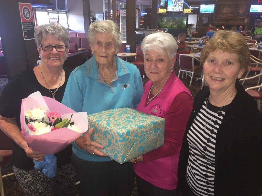 The Marie McManus Memorial Day women's golf event was contested on Sunday. The winner was Daphne Cross (2nd from right). Also pictured is Fay Hardwick who  presented Freda McManus with flowers for the family's continuous sponsorship of the golf day and Freda's daughter Sharon Huon. ▪ Photo contributed