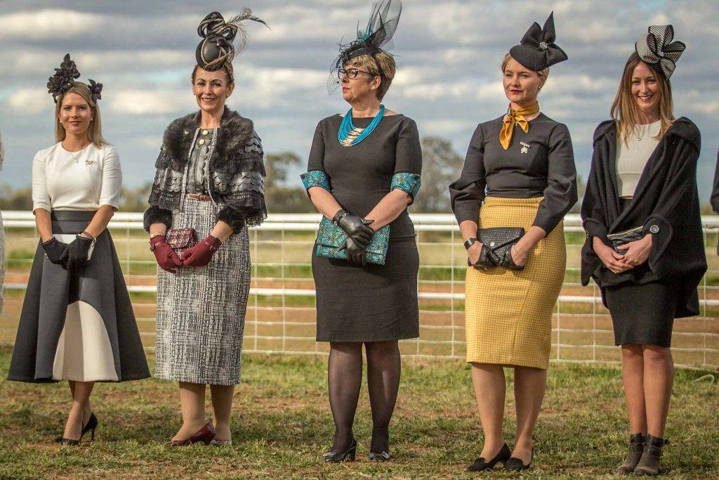 Cobar's Michelle Green (second from left) who won this year's Best Dressed Lady title at the Cobar Races, lined up at the Louth Races on Saturday along with a  stunning array of other well dressed ladies vying for the prizes on offer for this year's AWI and Myer Fashions On The Field competition. Despite looking gorgeous, Michelle unfortunately wasn't one of this year's four winners. ▪ Photo courtesy of Janian McMillan (www.racingphotography.com.au)