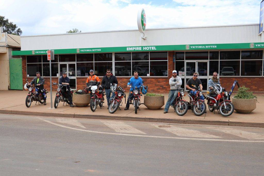CSA Mine Reggie's Mobile Maintenance Crew arrived in Cobar on Monday after  completing a ride on Postie bikes to Cameron's Corner and back to raise funds for the Miracle Babies Foundation.