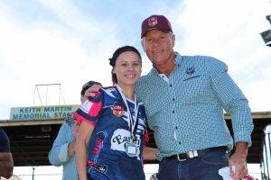 Lisa Travis (pictured with Ronnie Gibbs) was the Barwon Darling Cup's Ronnie Gibbs Player of the Grand Final of the women's League Tag game on Sunday in Bourke.