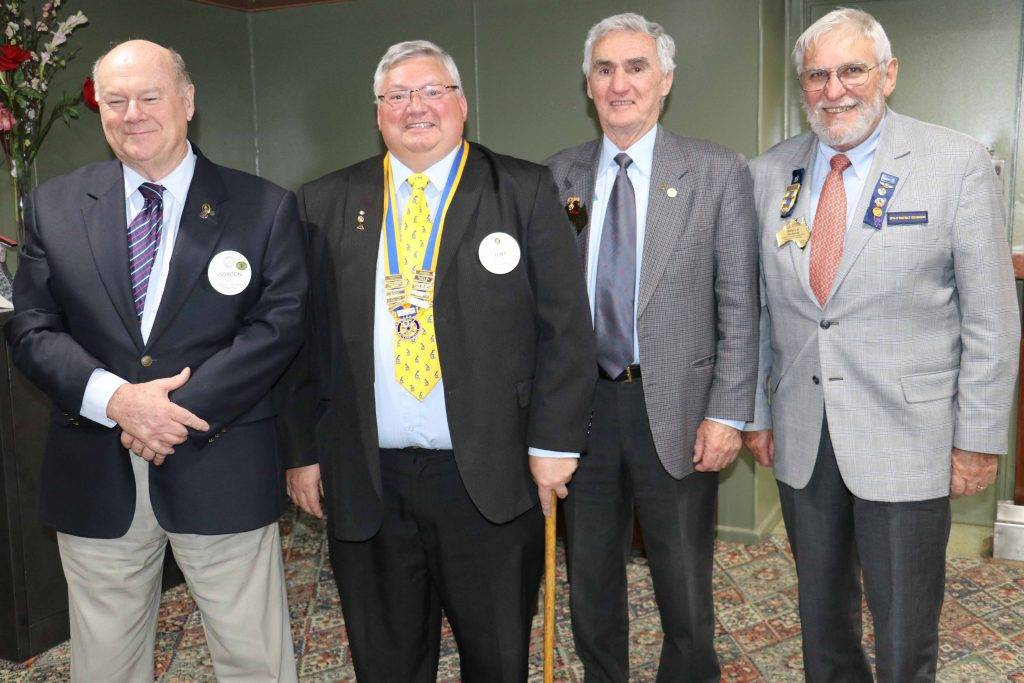 Rotary Club of Cobar past president Gordon Hill, new president elect Tony Punzet with special guests past 9670 district governor Don Stephens and district governor Steve  Jackson at Saturday night's Rotary Changeover dinner at the Services Club.