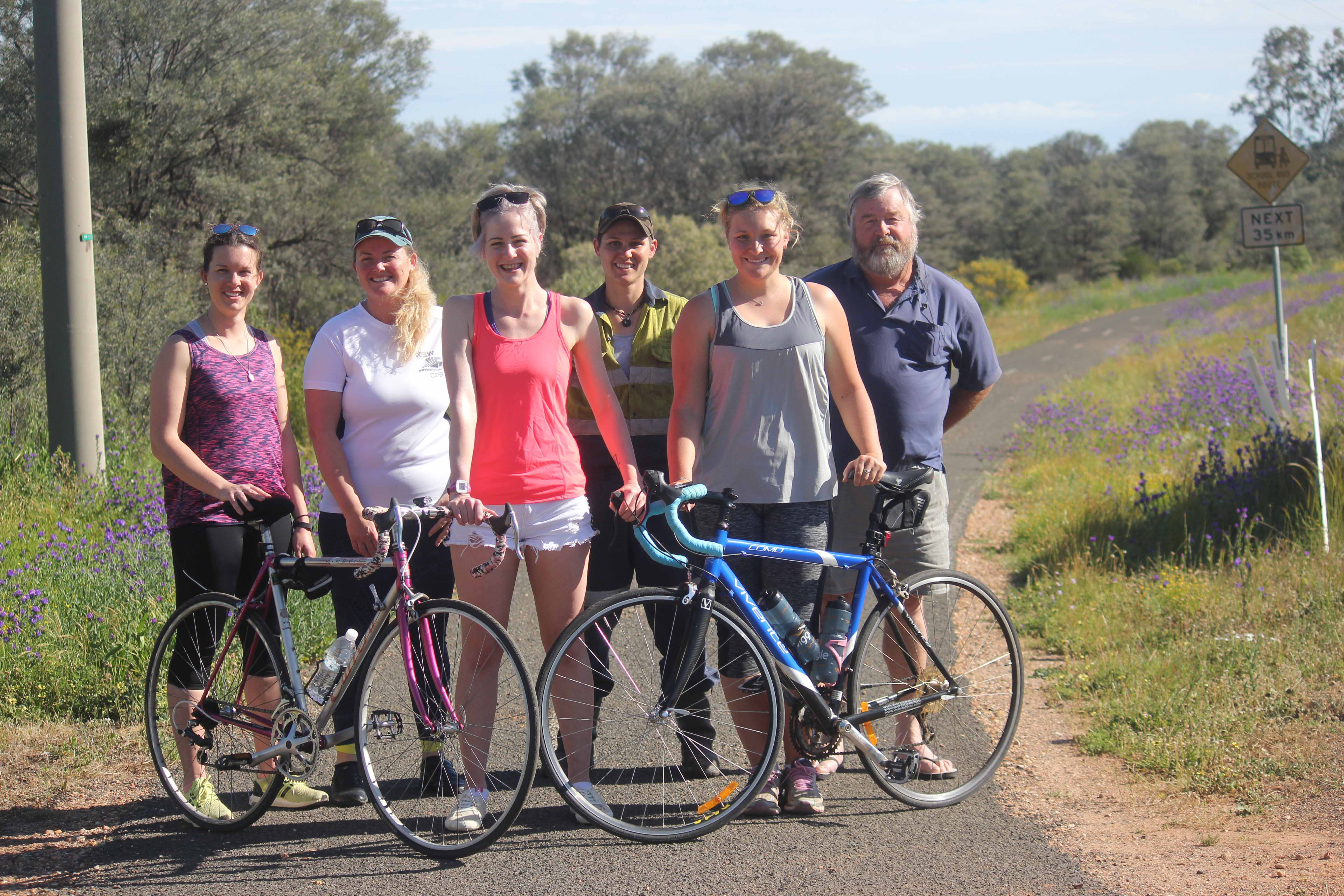 Some of The Cobar Gang riding the Great Cycle Challenge, Lyndsay Klopper, Kylie Lynch, Alex Eves, Shakira Colling, Samantha Dixon and Colin Eves.  Photo contributed