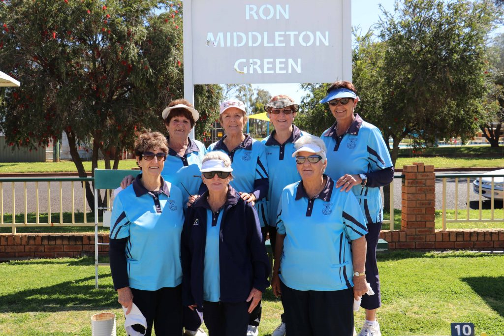 Lady bowlers Barbara Barklimore, Ev Hyde, Joy Josephson, Glenda Peebles, Shine McIver, Margaret Good and Marlene Wynd on the Golfie greens on Tuesday.