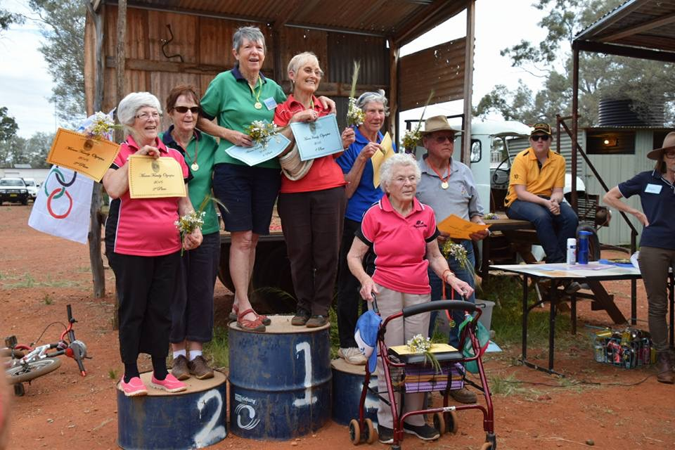 Contestants in the Over 70 years Family Olympics at the Manns Family Reunion at  Dijoe over the long weekend.  Photo contributed
