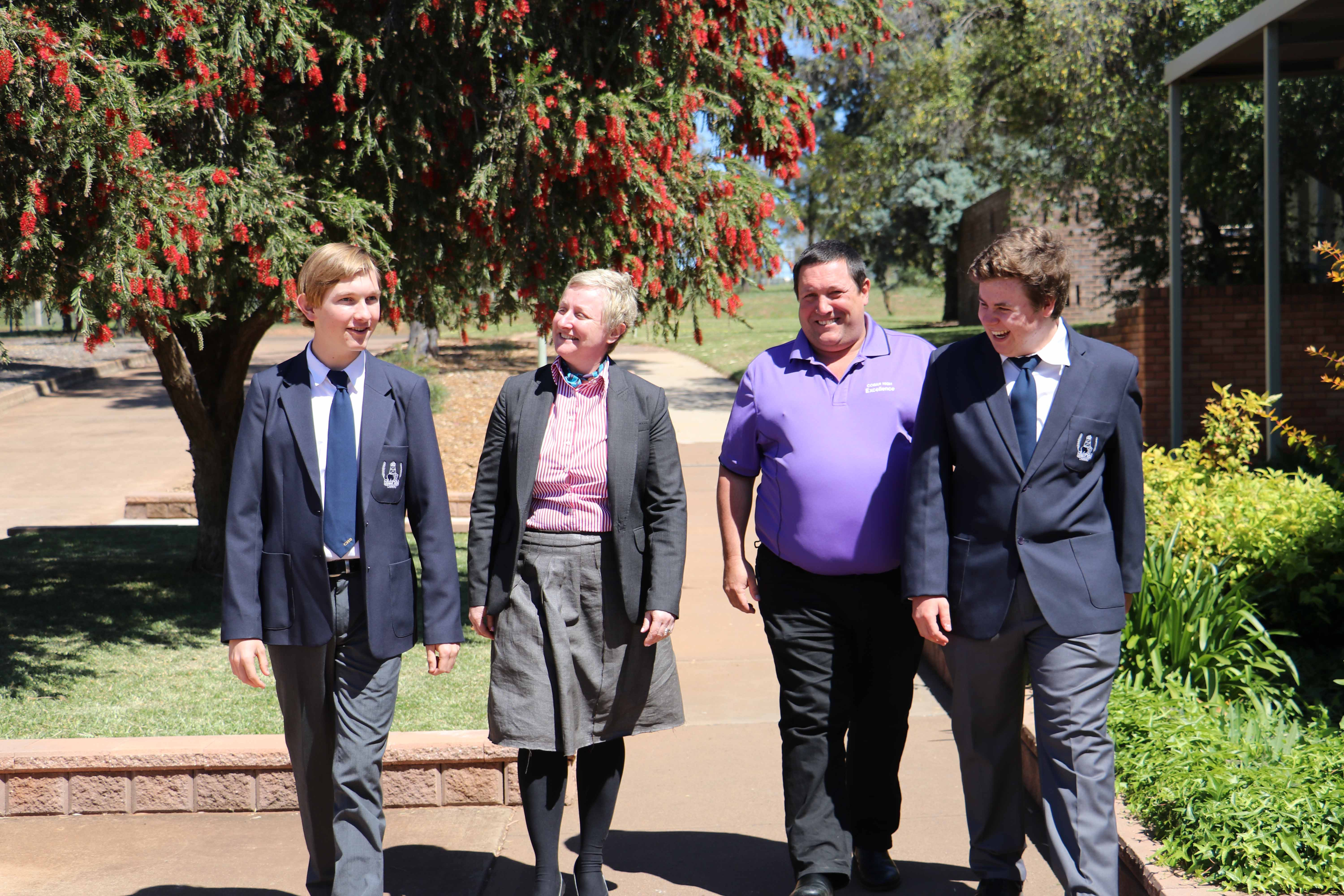 New principal at Cobar High School Safija Bristina has been made to feel very welcome by school captains Owen Potter and Jye Robinson and vice principal Shane Carter.