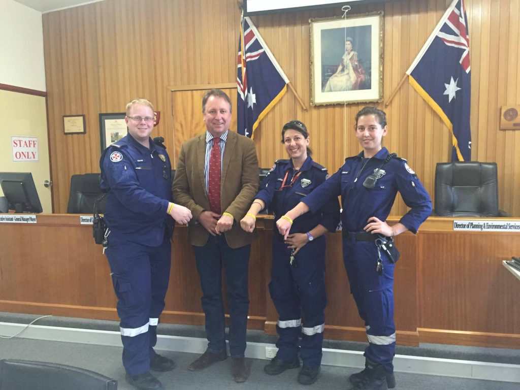 Local paramedics David Truscott, Anita Hodgkinson and Lauren Hogan-Ross spoke with State Member for Barwon Kevin Humphries last week about their Death & Disability protection.  Photo contributed