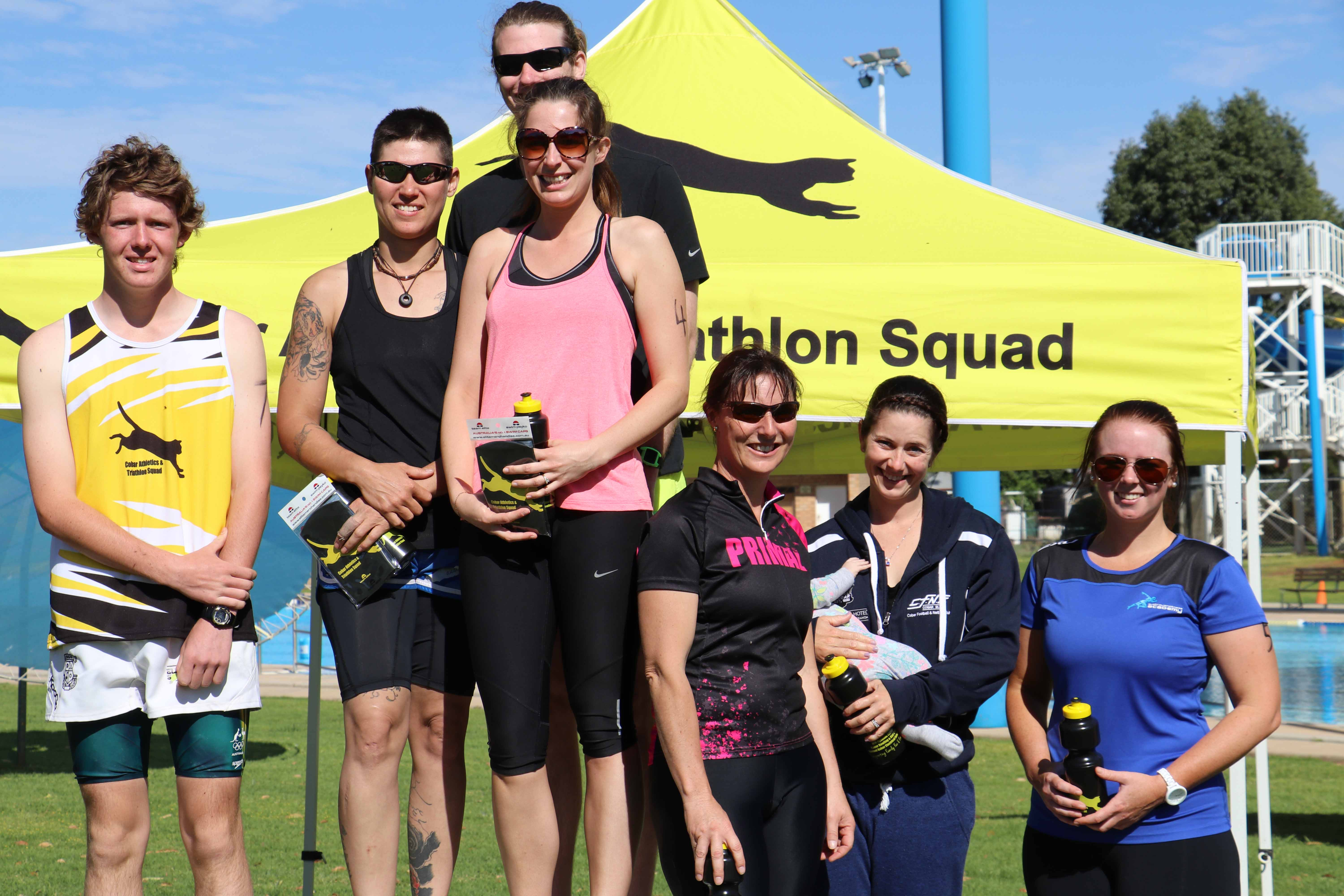 The overall winners of the CATS October handicapped triathlon were: Thomas Jones (second), the Just Do It! team of Shakira Colling, Aaron Finn and Tiara Ingold (first) and the TTP team of Trudy Griffiths, Tanya Gilbert and Penny Cowell (third).
