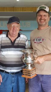 Gary Jones presented Bryan Manns with the Billy Manns Memorial Trophy on  Sunday.  Photo contributed