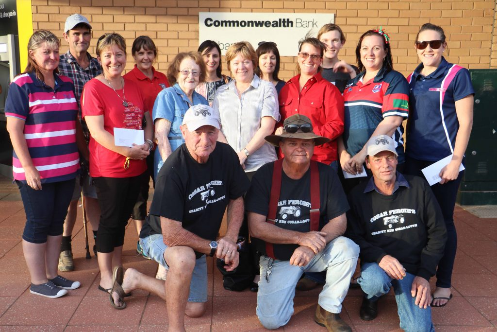 The Cobar Fergie's Club handed out tonnes of money to local organisations and one needy family on Thursday night. From their fundraising efforts of their bi-annual Tractor Run to Louth event, the club made donations of $2,000 to Nymagee resident Matt Bolam; $1,000 each to Batyr and the Cobar Tennis Club; and donations of $500 each to the Royal Flying Doctor Service; the Mayoral Chest; Cobar Junior Rugby League; Cobar Girl Guides: Cobar Little A's; Cobar Junior Netball; Cobar Blues representative netballers; and the Cobar Pony Club. Representatives of those groups and the Cobar Fergie's are pictured above.
