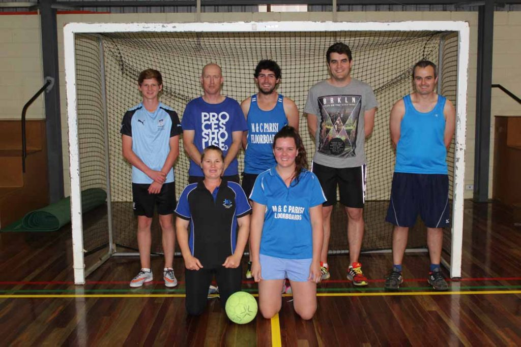 Bayer Neverlosen upheld their unbeaten record this season with a thrilling 2-0 win over CSA in last week's Mixed Indoor Soccer grand final. Pictured are Bayer Neverlosen's   Ben Anderson, Jade Buckman, Mel Bruce, Ben Turton, Shannon Purton, Mathew  Klopper and Scott Brown.
