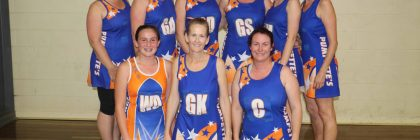 The Pumpettes team of Simone Knight, Zoe Carter, Emma Barton, Kelly Leonard, Jayme Francisco, Renee Matheson, Kelly Fairbank, Ellie Russell and Jo Carter were winners of the Women's Indoor Netball A Grade grand final on Monday night at the youth centre.