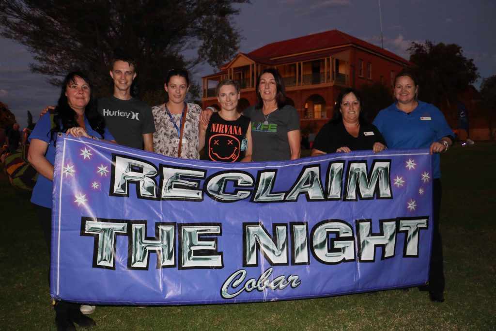Organisers and speakers at Cobar's Reclaim the Night event on Thursday Alannah  Josephson, Zane Josephson, Carol Smith, Laura Ah-See, Wendy Robinson, Brenda  Cohen and Elizabeth Kerr. The event was coordinated by CentaCare and Thiyama-li.