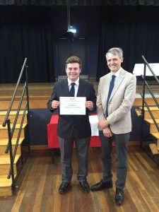 Cobar High School Year 11 student Jye Robinson was presented with a Victor Chang award for science by Professor Jamie Vandenberg at a special ceremony in Dubbo last Wednesday.  Photo contributed