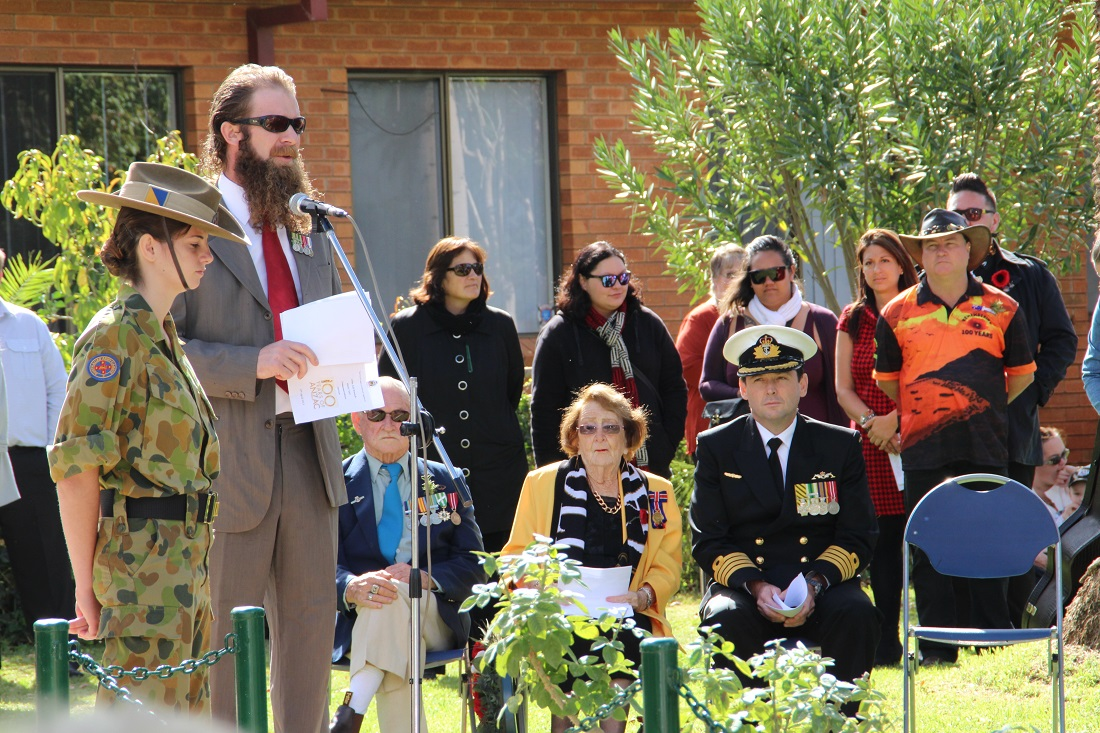 ANZAC Day Service Ben Hewlett, mayor Lilliane Brady and Captain Geoff Wadley