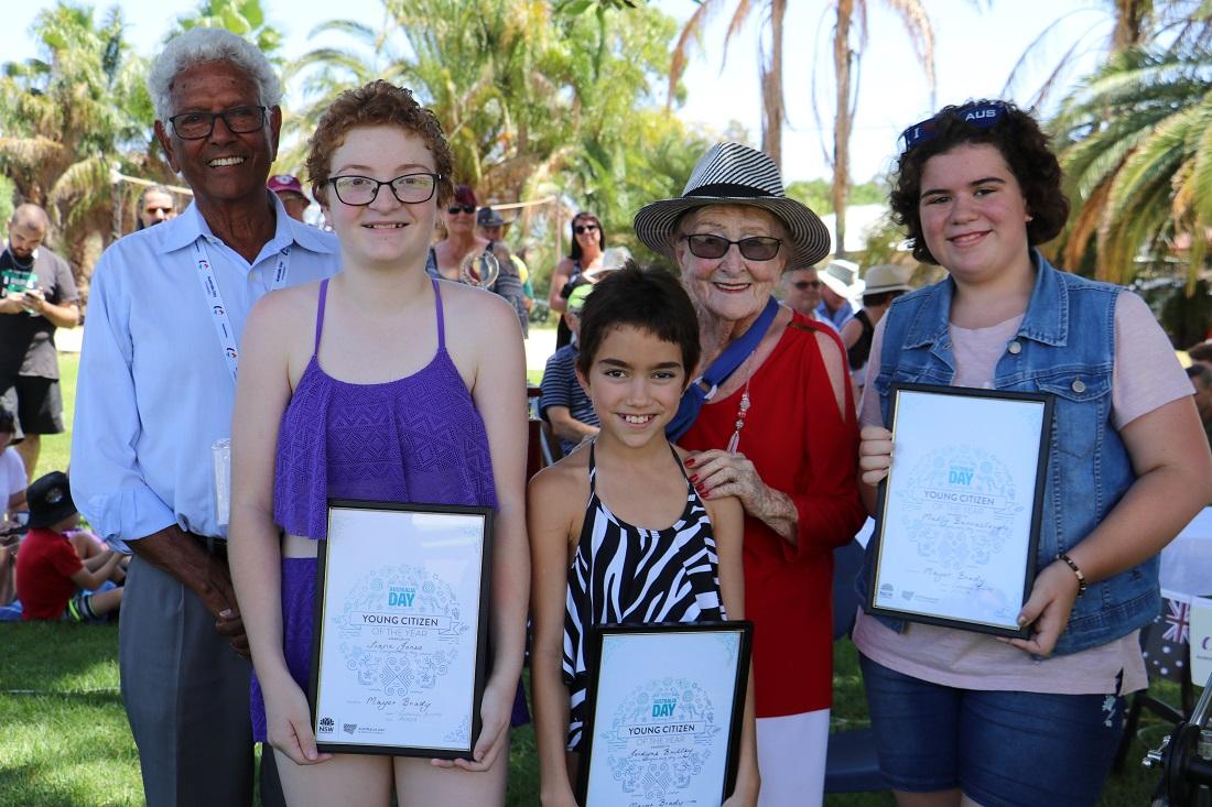 Australia Day awards ambassador John Moriarty Tiana Jones, Jordyne Brilley, Lilliane Brady and Molly Barrouclough