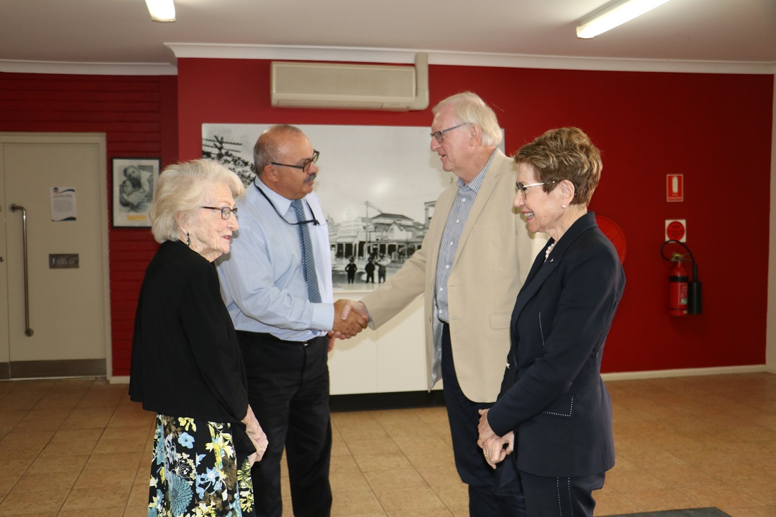 Governor and Mr Wilson greeted by mayor Lilliane Brady and GM Peter Vlatko
