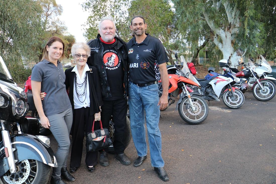 Psychs on Bikes visit Laura Ah-See, Lilliane Brady, Dr Joe Dunn and David Peachey