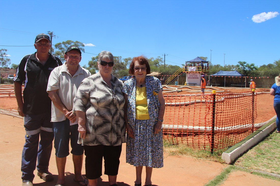 Services Club Nitro Car Track opening John Foster, Gary Middleton, Linda Carter and Lilliane Brady