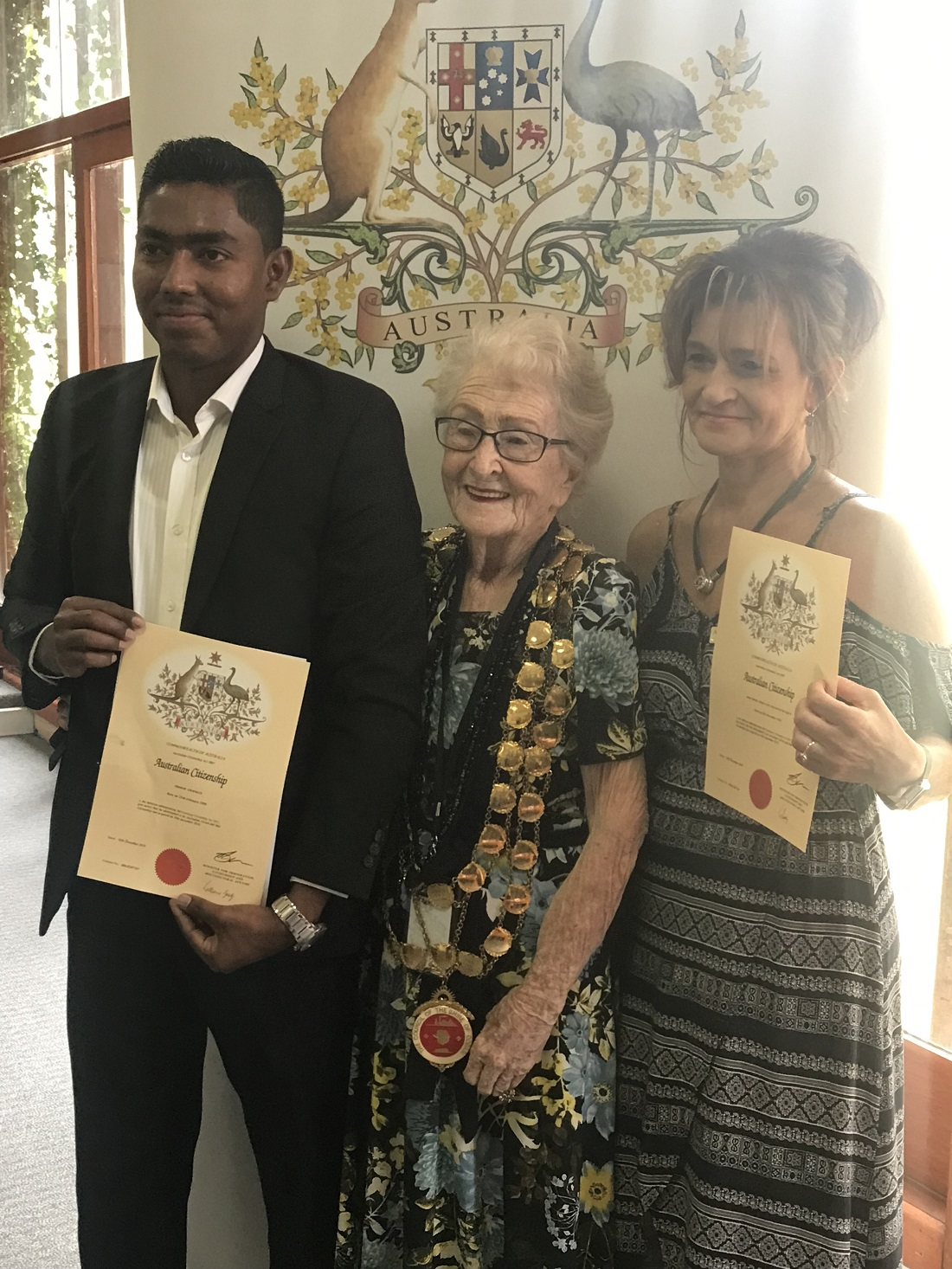 contributed Naturalisation Mayor Lilliane Brady with Shamin Ahmmed and Anna Van der Westhuizen